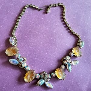Vintage rhinestone choker necklace yellow